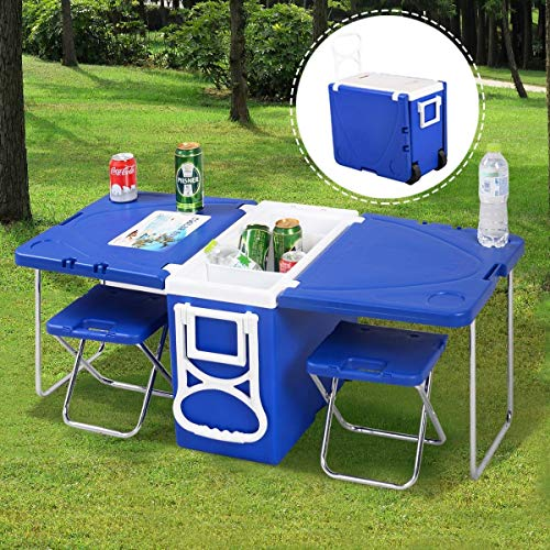 Dimensions Picnic Tables - Multi Function Rolling Cooler Picnic Camping Outdoor w/ Table & 2 Chairs Blue