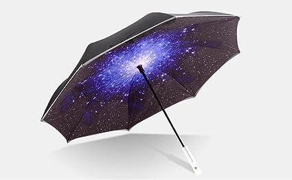 THUNFER Paraguas Creativo Reverso Paraguas LED Sin Luz Coche Con Doble Borde Reflectante Coche Paraguas Portátil