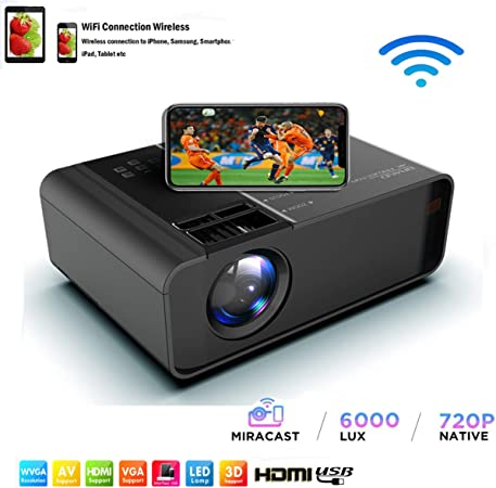 SOTEFE® WiFi Proyector Portable 6000 Lumens-Mini LED Proyector Portátil 1080P Full HD Video Multimedia para iPhone/Samsung/Sony/Hauwei Smartphone Compatible con HDMI/USB/Tarjeta SD/VGA/AV/TV Box/PS4: Amazon.es: Electrónica