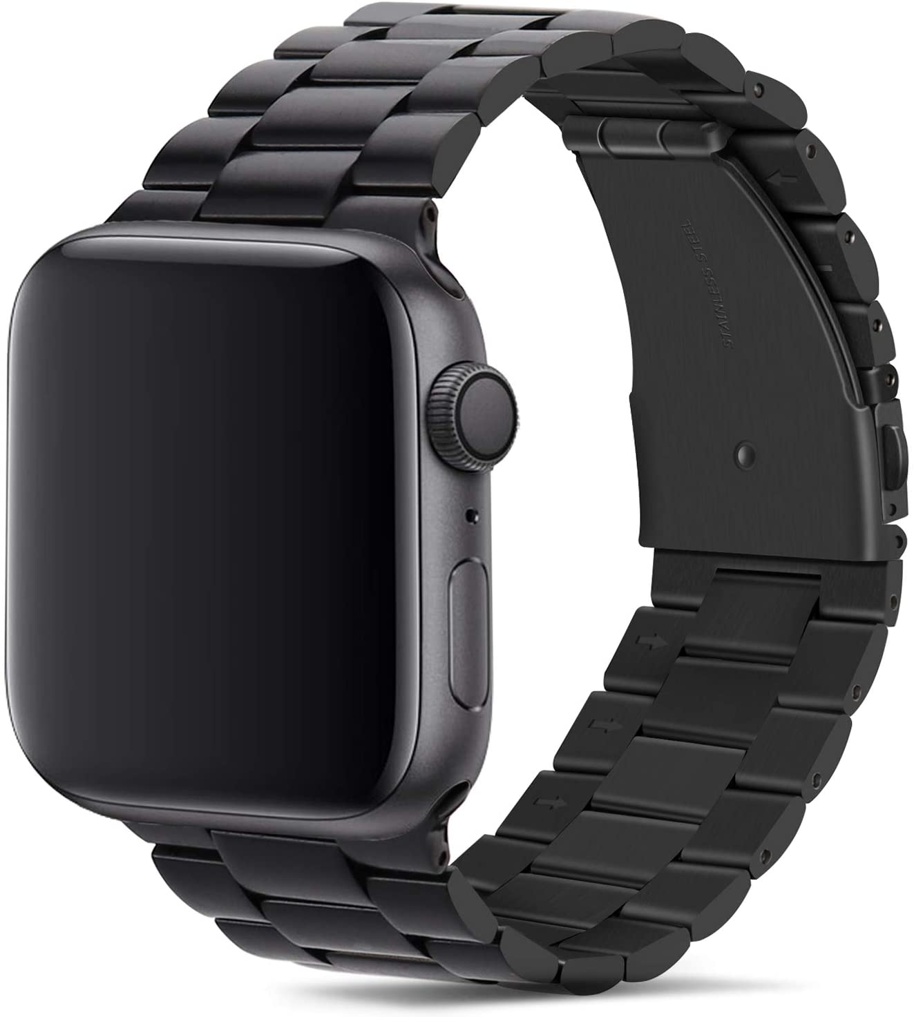 Tasikar para Correa Apple Watch 42mm 44mm Metal de Acero Inoxidable Correa de Repuesto Compatible con Apple Watch Series 5 Series 4 (44mm) Series 3 Series 2 Series 1 (42mm) - Negro