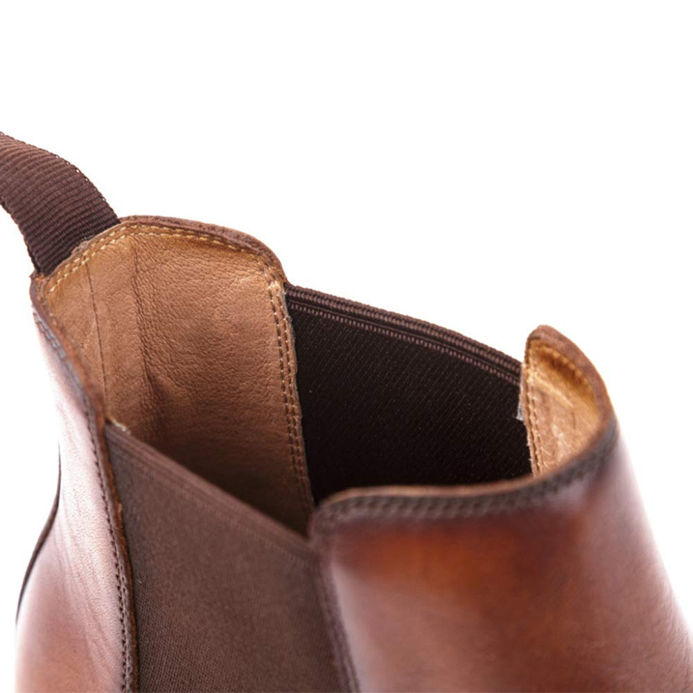Kyusong Mens Chelsea Boots Genuine Leather Brogue Martin Boots for Male Gent Round Toe Ankle Boots Work Banquet Formal Dress Shoe
