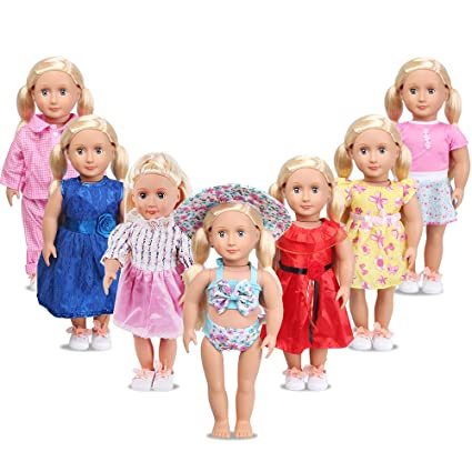 Amazon.com  Doll Clothes for 18 Inch Dolls - AmyHomie 7 Outfit for ... 1c46c671e