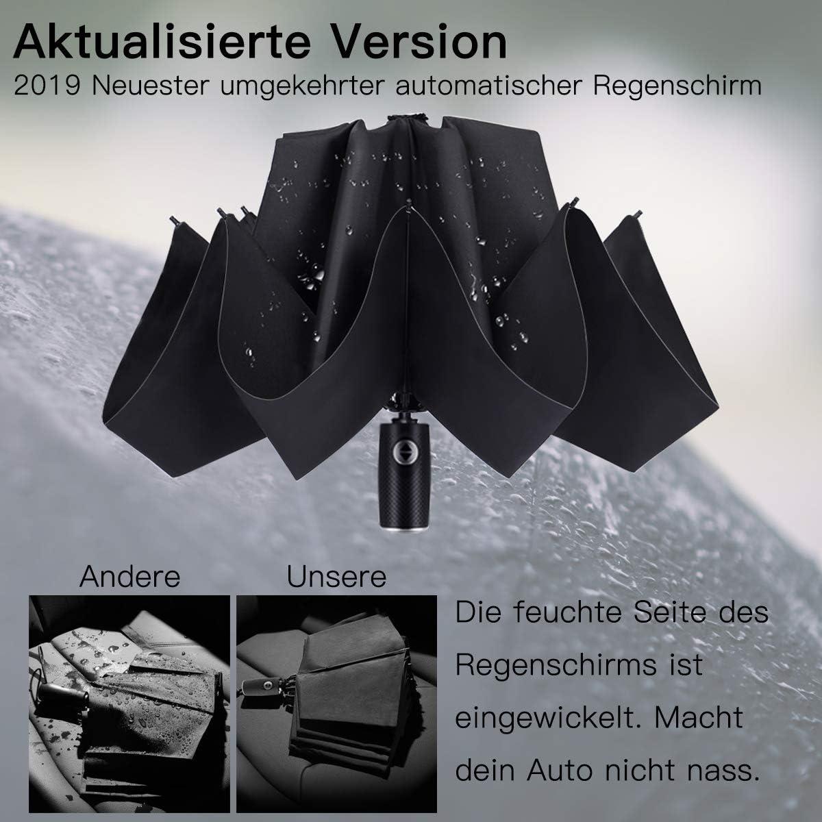 Coupe-Vent Noir Automatique rev/êtement t/éflon Parapluie Parapluie Parapluie invers/é Parapluie avec Pochette pour Parapluie et Housse de Voyage Stable