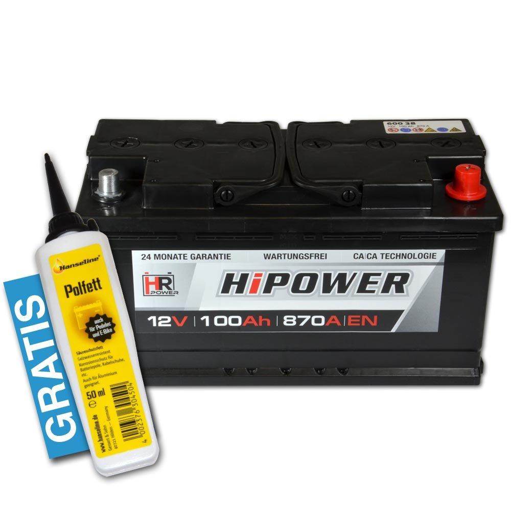 HR HiPower Autobatterie 12V 100Ah inkl. Polfett ersetzt 88 90 92 95 Ah Starterbatterie KFZ-Batterie HR-S100