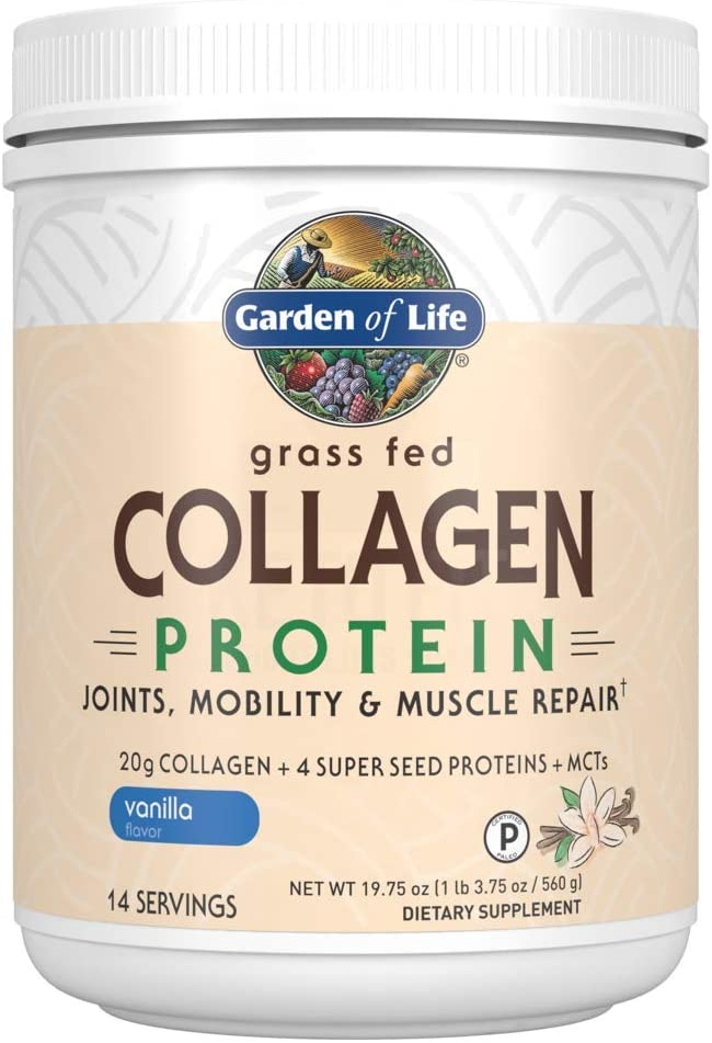 Garden of Life Grass Fed Collagen Protein Powder - Vanilla, 14 Servings, Collagen Powder for Joints Mobility Muscle Repair, Collagen Peptides, Super Seeds Coconut MCTs, Hydrolyzed Collagen Supplement