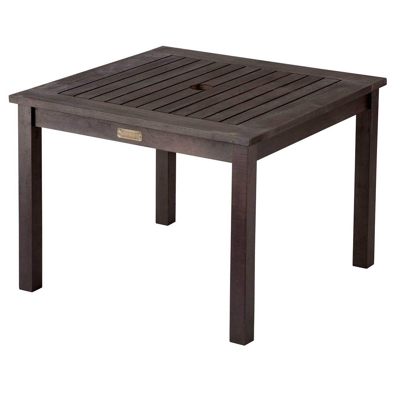 Amazon com outdoor rustic espresso finish eucalyptus wood umbrella side table end table patio pool furniture garden outdoor
