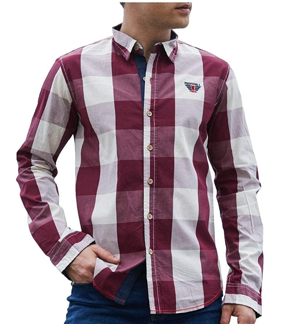 Gocgt Men Casual Shirts Long Sleeve Plaid Checked Button Down Shirts
