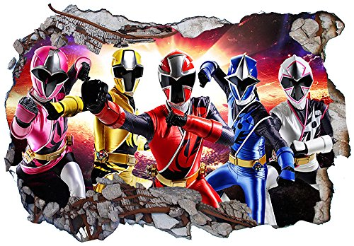 Power Rangers Ninja Steel V002 Wall Crack Wall Smash Wall Sticker Self  Adhesive Poster Wall Art Part 53