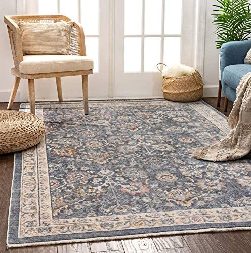Well Woven Lalen Dark Blue Vintage Oriental Floral Area Rug 7×9 7 3 x 9 3