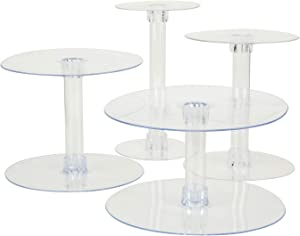 BalsaCircle 4 Tiers Clear 14-Inch Round Crystal Acrylic Cupcake Stand - Tiered Dessert Food Serving Tower Birthday Party Wedding