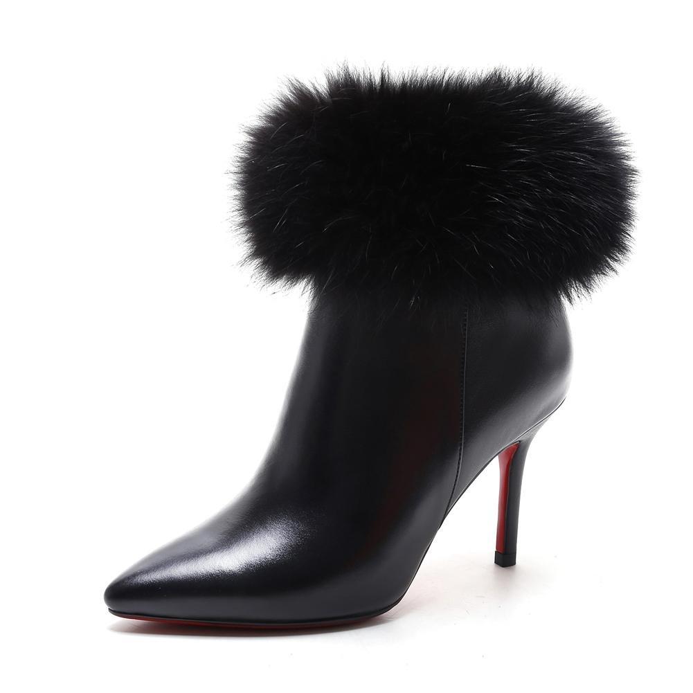 Damen Knöchel Stiefel Stiletto Hoch Ferse Schuhe Leder Spitz Schwarz Herbst Winter schwarz