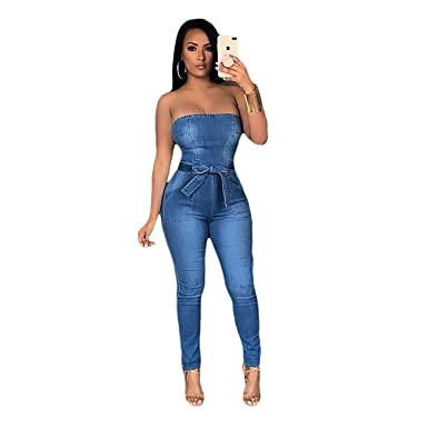 Amazoncom Pinli Womens Sexy Off Shoulder Short Denim Romper High