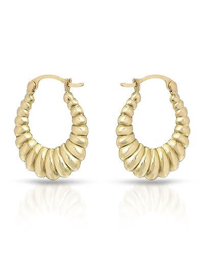 Amazon Com Mcs Jewelry 10 Karat Yellow Gold Classic Shrimp Hoop