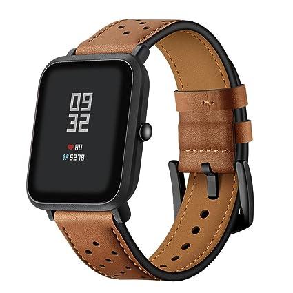 zolimx correas de Reloj de Cuero Perforado Correa de Repuesto para Xiaomi Huami Amazfit Bip Reloj Inteligente