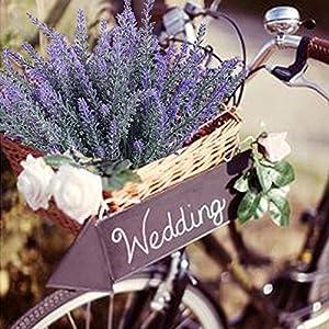 4pcs Artificial Flocked Lavender Bouquet in Purple Flowers Arrangements Bridal Home DIY Floor Garden Office Wedding Decor 5