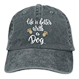 ball caps for women - FUNINDIY Life Is Better With A Dog-1 Vintage Jeans Baseball Cap For Men and Women