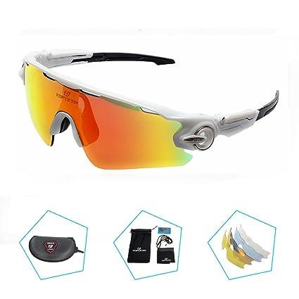 TOPTETN Gafas de sol deportivas Lente polarizada Gafas polarizadas Lente intercambiable 5 uv 400 UV corte bicicleta Ciclismo Golf Gafas de pescar ...