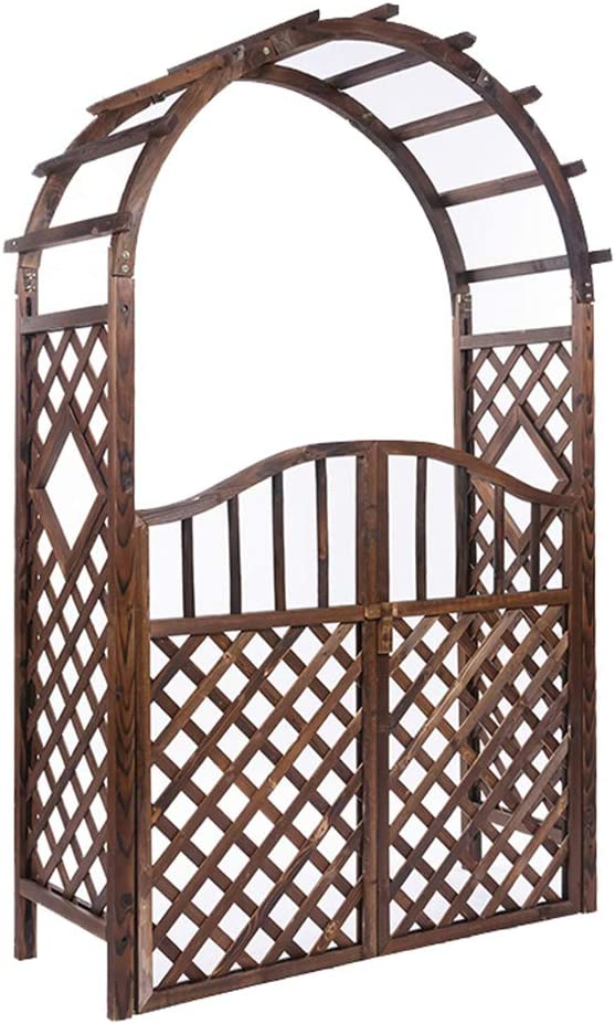 XLOO Wood Garden Arch Arbor with Fence gate,Patio Wood Garden Arch,Garden Arbor,Carbonization Process,Waterproof, Anti-Corrosion,for Various Climbing Plant