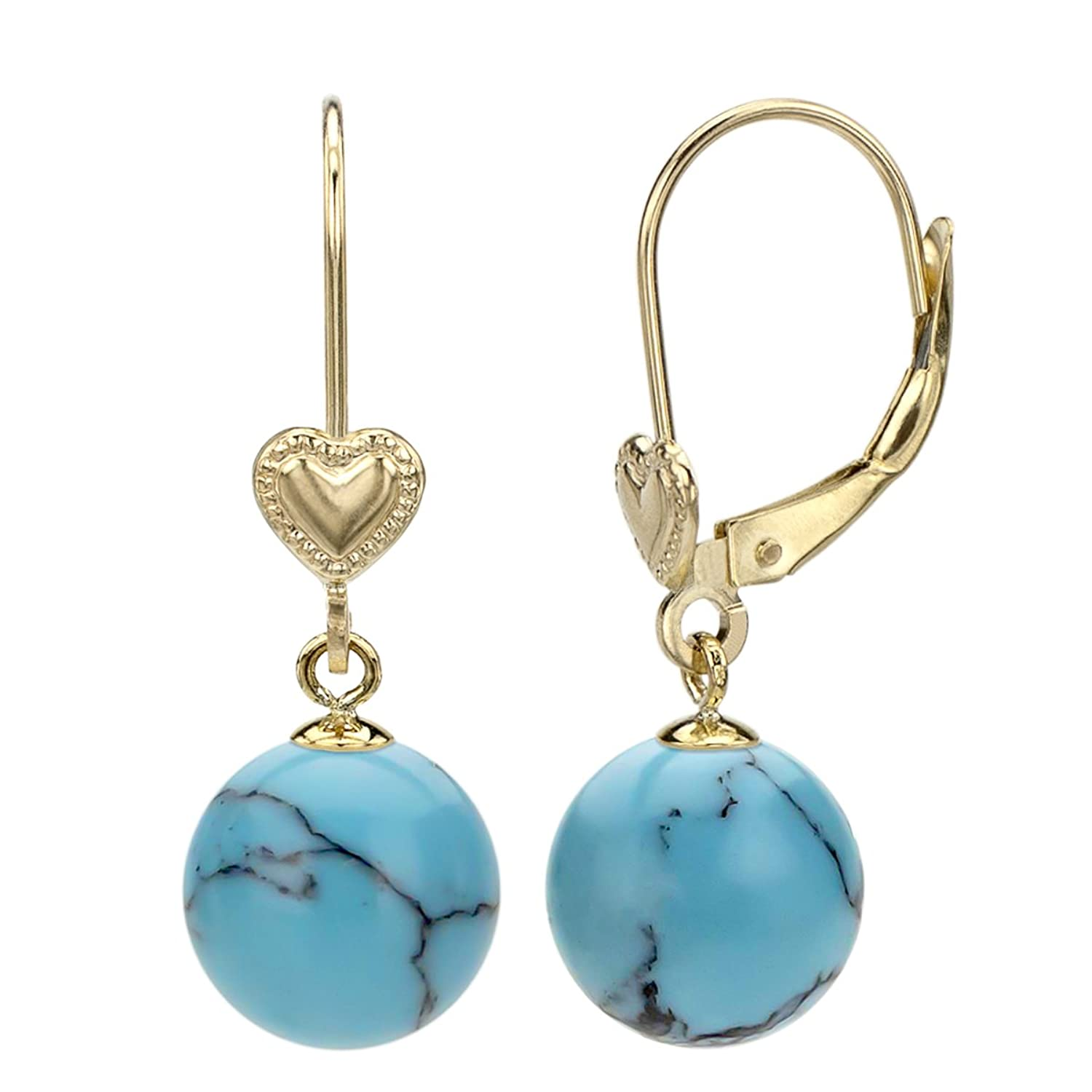 14k Yellow Gold 8-8.5mm Round Simulated Blue Howlite Turquoise Heart Design Lever-back Earrings