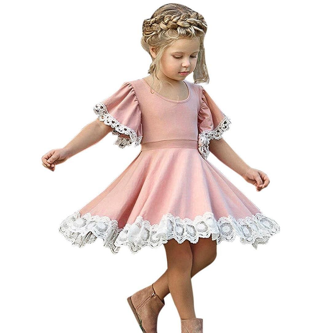 BYSTE Abito Bambina Ragazze Abiti Manica corta pizzo giuntura Cucitura Gonna di filo netto tutu Vestito da principessa matrimonio Festa formale