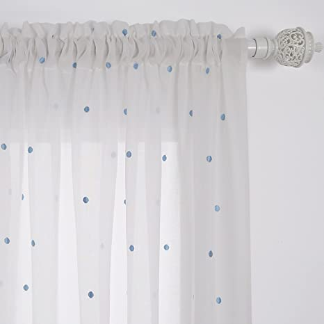 Deconovo Sheer White Curtains Embroidered Blue Dot Faux India Cotton Kids Curtain Rod Pocket