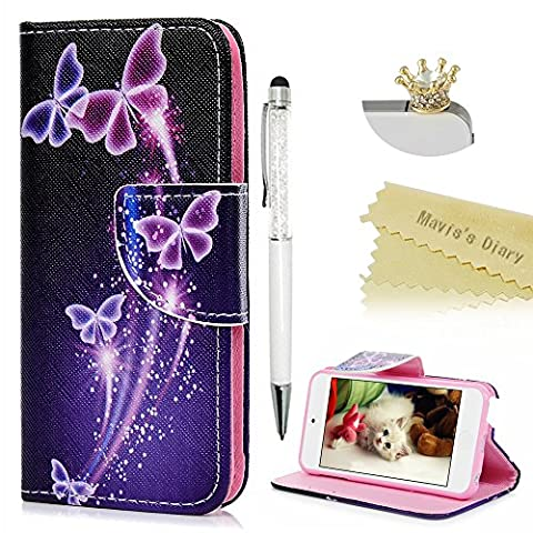 Touch 5,Touch 6 Wallet Case - Mavis's Diary Premium PU Leather with Magnetic Clasp Card Holders Flip Cover for iPod Touch 5th & 6th Generation with Crown Dust Plug & Crystal Pen (Dream (Ipod 5th Generation With Holster)