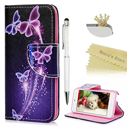 Price comparison product image Touch 5,Touch 6 Wallet Case - Mavis's Diary Premium PU Leather with Magnetic Clasp Card Holders Flip Cover for iPod Touch 5th & 6th Generation with Crown Dust Plug & Crystal Pen (Dream Butterfly)