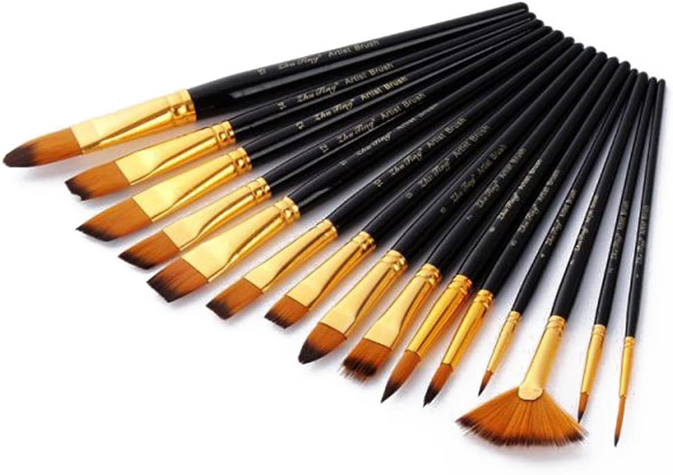 PIXNOR Jeu de pinceaux Art Brushes Set avec bo/îtier pour peinture acrylique aquarelle huile Pack de 15