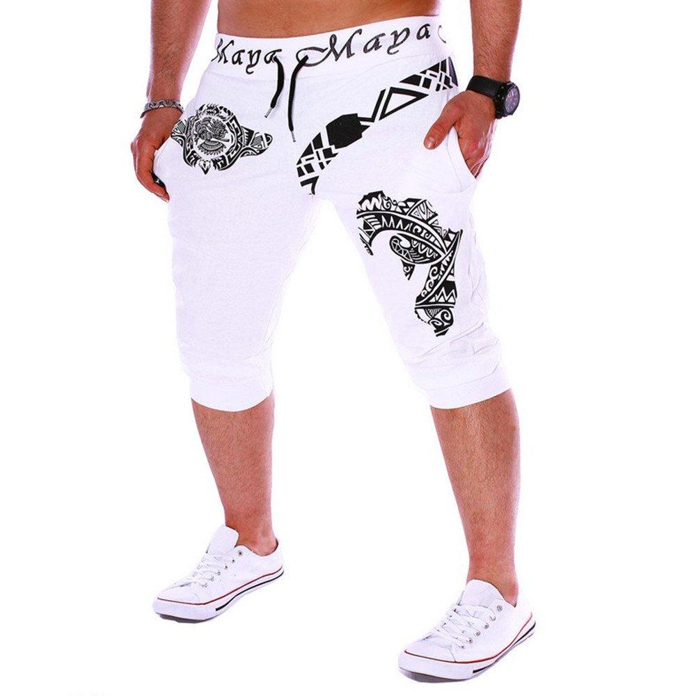 Men Printing Pants Cotton Casual Shorts 3/4 Jogger Capri Pants Breathable Below Knee Short Pants by Hunzed