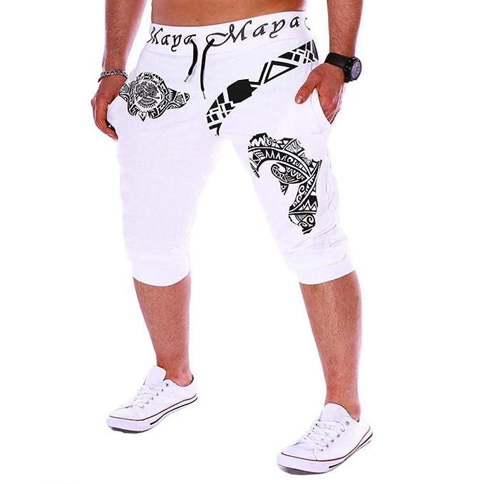 YanHoo Pantalones Deportivos para Hombres Pantalones Cortos de impresión Digital Pantalones elásticos Pantalones Deportivos Sueltos Entrenamiento para ...