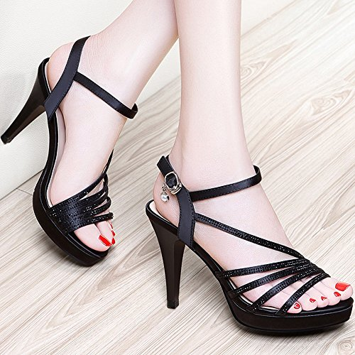 Sandals Female Summer Fashion Open-toed Fish Mouth Women's Shoes Platform Sexy High Heels Women's 3.74 in (9.5 cm) Stylish/comfortable (Color : Black, Size : EU35/UK3/CN34) Black