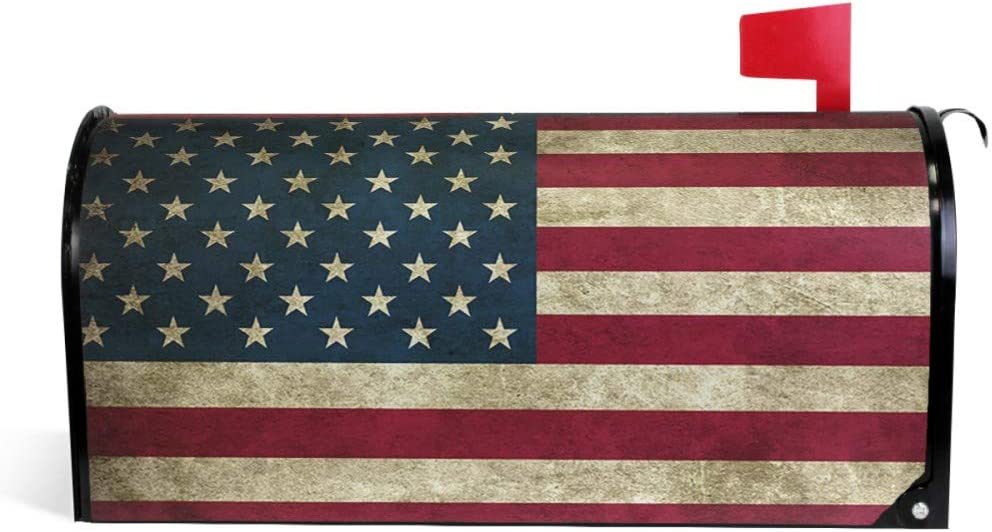 ALAZA Welcome Mailbox Covers Magnetic Retro Vintage US American Flag Patriotic Post Box Cover Wrapped Oversize 25.4 x 20.78 Inch for Garden Yard Decor