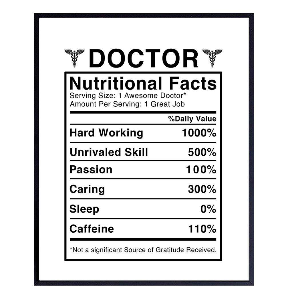 Doctor Nutritional Facts Wall Art - Funny 8x10 Room Decor, Home Decoration for Medical Clinic or Office - Unique Gift for Dr, Physician, Med Student - Unframed Poster Picture Sign Print