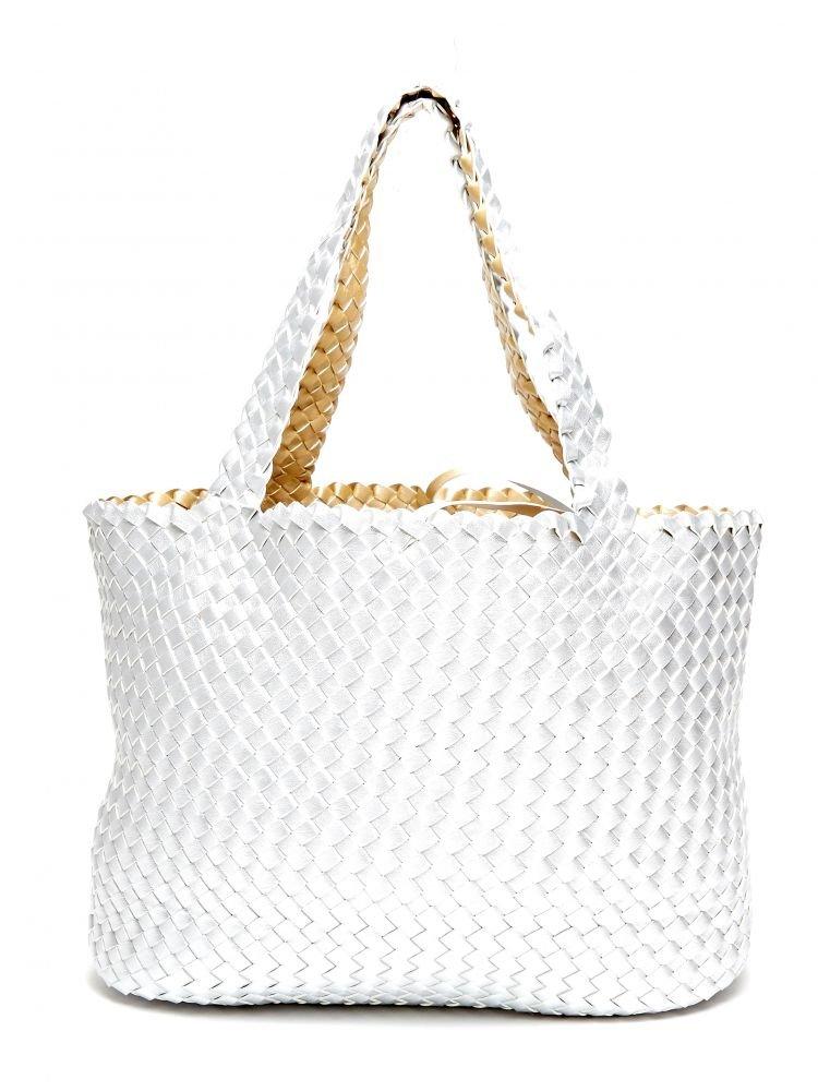 Wende Tasche Shopper geflochten SILBER GOLD Umhängetasche Farbe Silber / Gold
