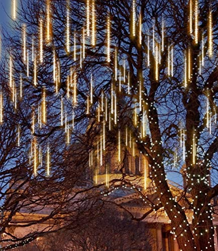 Joiedomi 2Packs Christmas Meteor Shower Lights Falling Rain Drop Icicle String Lights 240 LEDs 8 Tube 30cm/12inch (Warm White) for Christmas Holiday Party Home Patio Outdoor Decoration