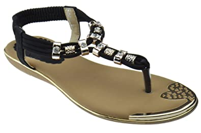 cf3098dfc960e Lucita A8-08 Womens Rhinestone Embellished Thong Flat Sandals Black 6