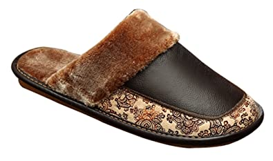 061ed8526 Cattior Mens Leather Fur Lined Spa Slippers House Slippers (6, Black)