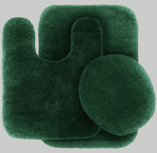 GorgeousHomeLinen 3-Piece Hunter Green #6 Bathroom Set Bath Mat, Contour, and Toilet Lid Cover, with Rubber Backing (6 Piece Bathroom Rug Set)