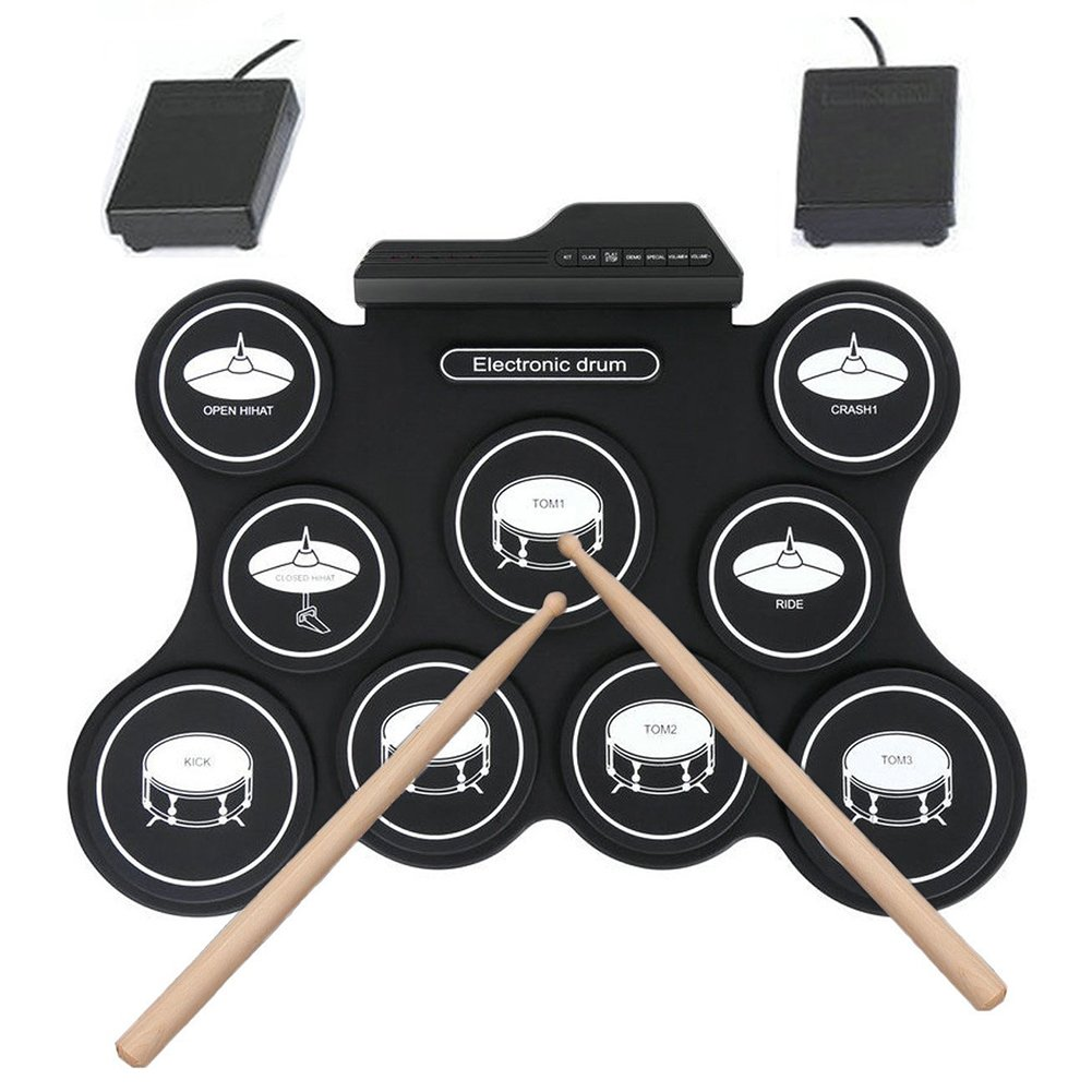 Electronic Roll Up Drum Kit Portable 9 Practice Pads Electronic Drum Set with Headphone Jack Built in Speaker Drum Sticks and Pedals(USB) Bellagione 1