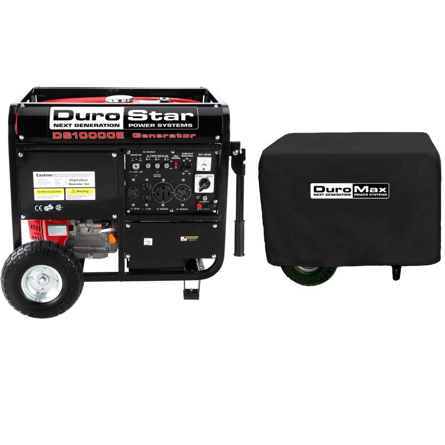 DuroStar DS10000E, 8000 Running Watts/10000 Starting Watts, Gas Powered Portable Generator+ DuroMax XPLGC