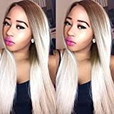 Heahair® HeatResistant Handtied Full Head Ombre Color Blonde Long Straight Synthetic Lace Front Wigs for White Women