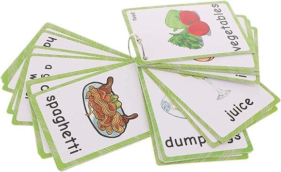 #1 35pcs Homyl Enfants en Bas /âge /Éducatif Anglais Sight Word Flash Cards Nourriture