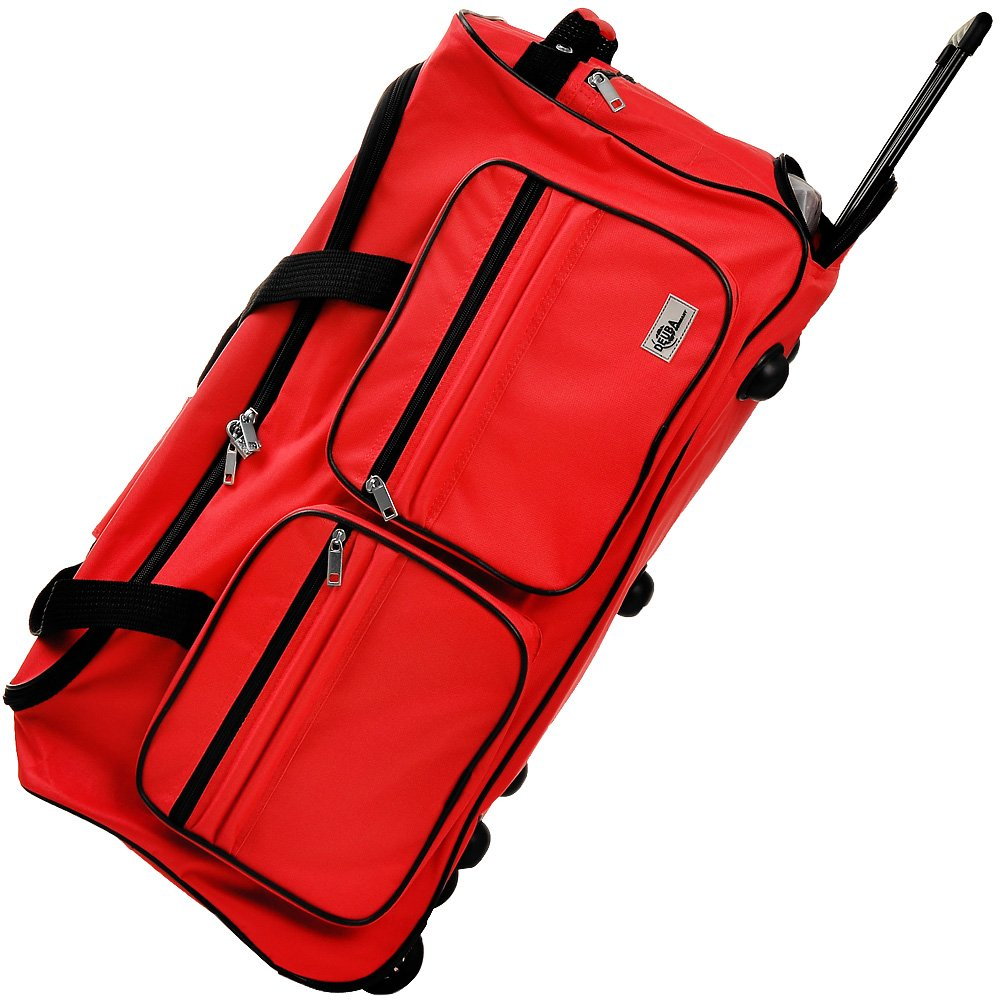 Travel Duffel Bag Size Colour Choice 85L Red Wheeled Luggage Gym Sport Large Lightweight Telescopic Handle
