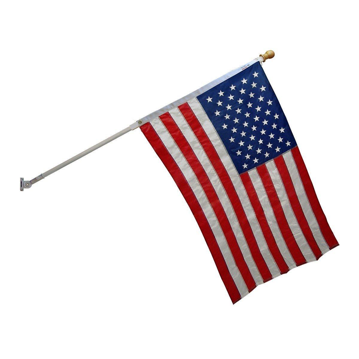 Super Tough Nylon Flagpole Kit with White 6ft Spinner Pole, US Made Sewn Nylon Flag, Sturdy Bracket