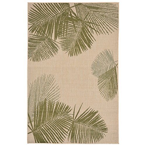 "Liora Manne TER45179266 Terrace Casual Botanical Tropical Palm Leaves Indoor/Outdoor Area Rug 39"" X 59"" Green and Ivory"