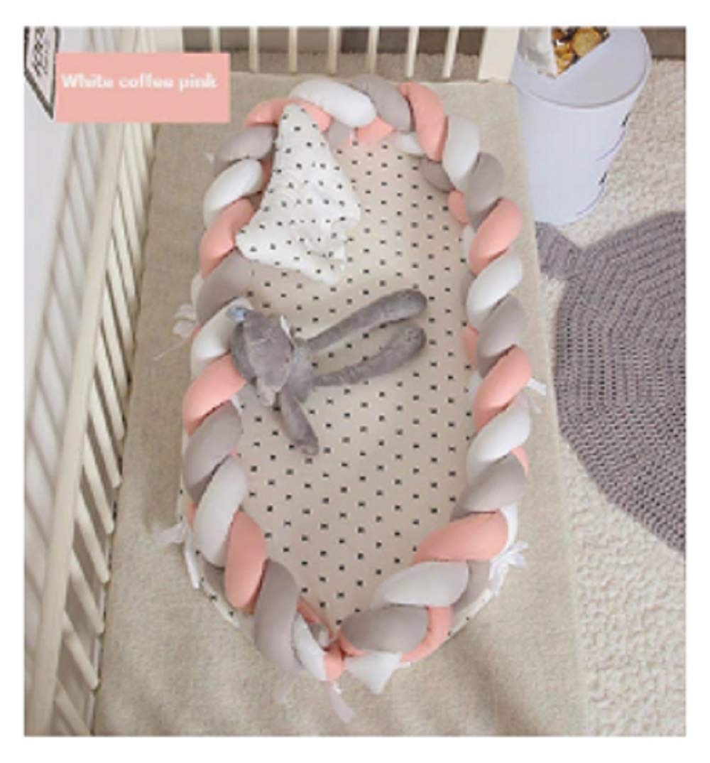 Baby Nest Bed Travel Crib Baby Bed Infant CO Sleeping Cotton Cradle Portable Snuggle 9055cm Newborn Baby Bassinet BB Artifact - White Coffee Pink by Hwealth