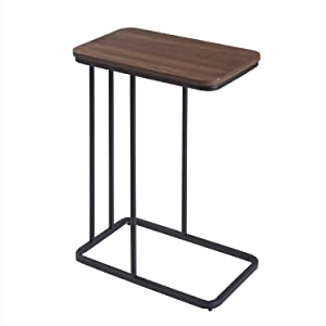 C Table Sofa Side End Tables for Living Room Couch Table, Snack Coffee Tables Small Square Tray Table, Laptop Table for Small Space, Marble Looking TV Tray Over Bed Table Metal Frame (Walnut)