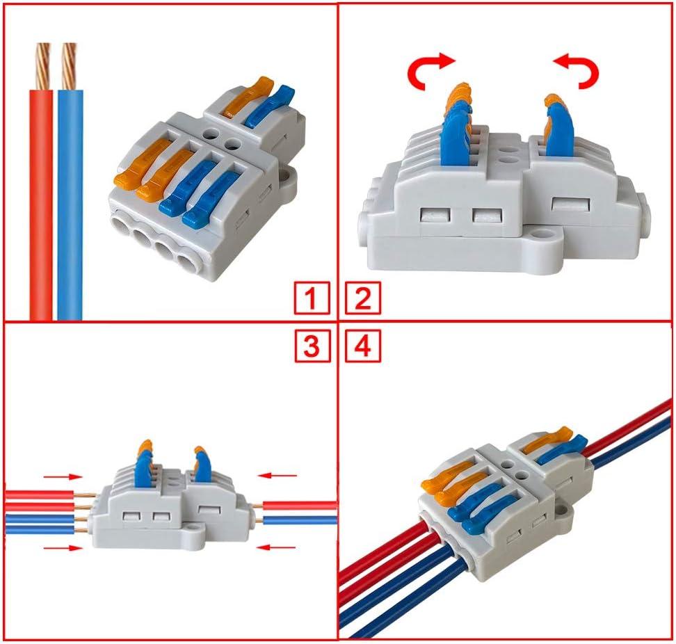 2 in 2 out 4 Ports Conducteur Compact Fils Connecteurs Compact Connecteur Ressort Bornier Levier Multicolore Aiqeer 16 Pi/èces SPL-2 Levier-/Écrou Fil Connecteurs