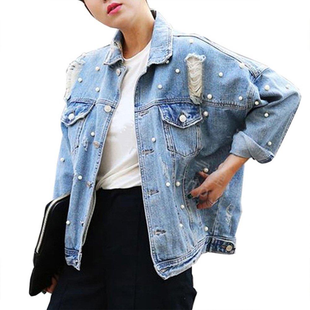 CUTECC Fashion Women Loose BF Style Bead Pearl Jeans Denim Ripped Blue Jacket (M, Light Blue)