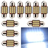 Everbright 10-Pack White 31MM 1.25 inches DE3175 DE3021 DE3022 3175 LED Canbus No Error Festoon Heat Sink Interior Map / Dome Dome / Trunk / Glove Box Lights LED Lamp (DC-12V)